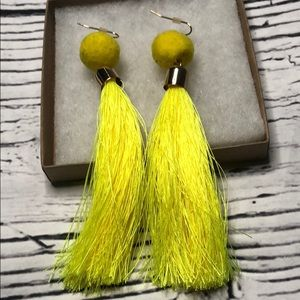 Free with purchase day glo yellow tassel earrings